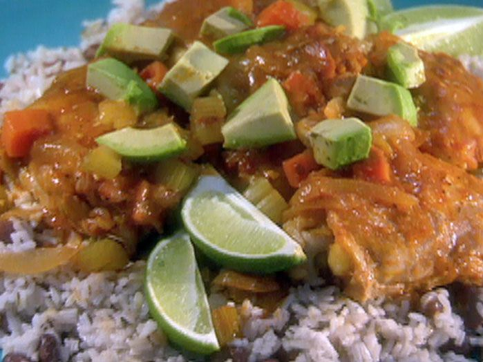 Slow Cooker Chipotle-Lime Chicken Thighs Jamaican Rice and Peas recipe from Robin Miller via Food Network