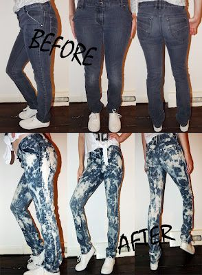 I did this to my jeans....Just splat with bleach! #25 acid washed jeans