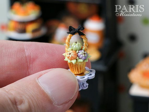 Halloween Basket Cupcake with Colourful Candy by ParisMiniatures