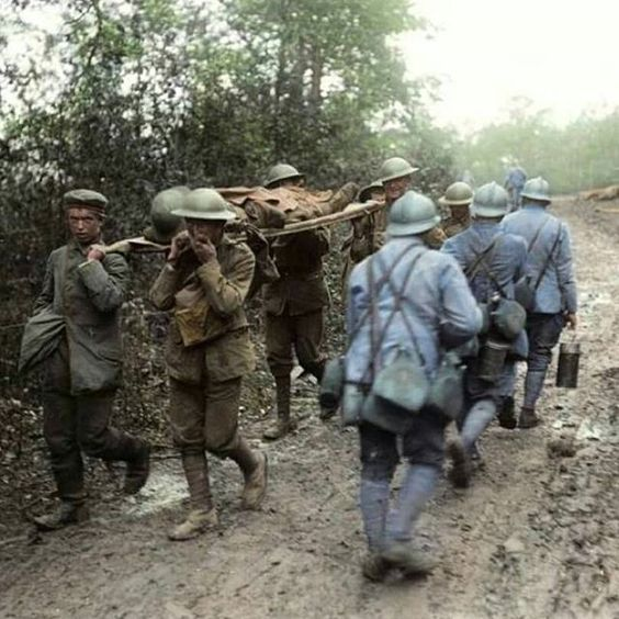 British Soldiers With German Prisoner Pass Allied French Troops