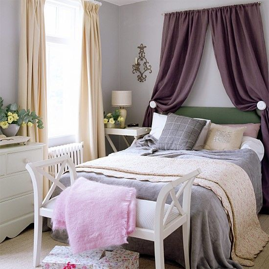 Hanging Curtains Over The Headboard This Bedroom Creates