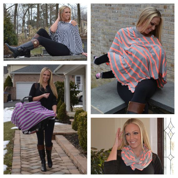 4 SIZES AVAILABLE! Nursing Shawl Nursing Cover Nursing Poncho Scarf Breastfeeding Cover Black White Striped Baby Shower Gift Gray Tan Navy