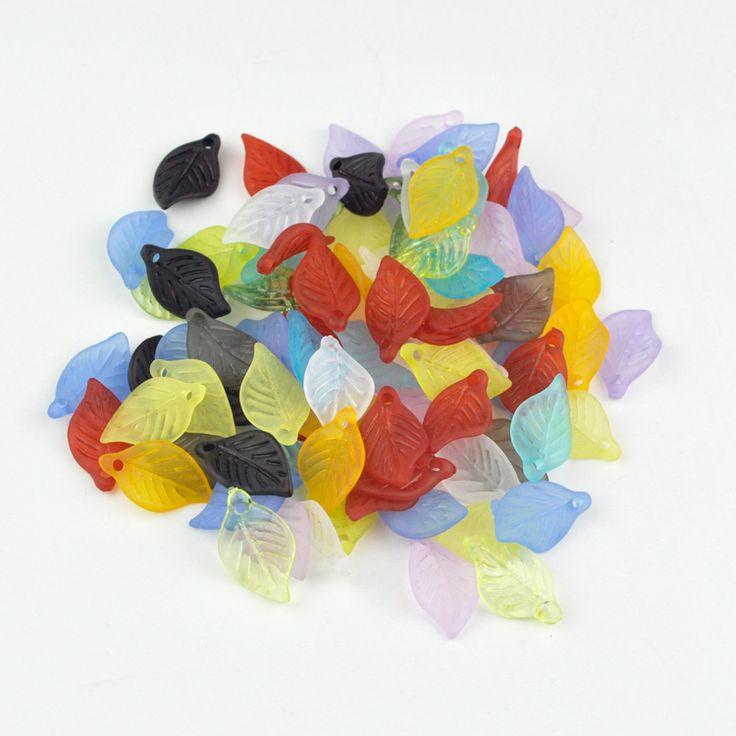 100 доставка-100шт случайно смешанный цвет акрил листья бусины кулон пластик заморожено акриловый пластик коренастый прокладка подвески-талисманы кулон бусины -