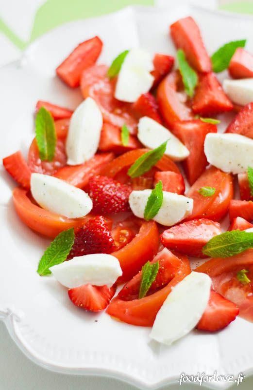 Salade de Tomate Coeur de Boeuf, Fraise, Mozzarella et Menthe - In the Food for Love