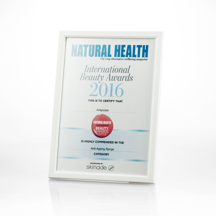 We are proud to announce that Antipodes was highly commended in the Natural Health International Beauty Awards 2016 for the Anti-Ageing Range category.
