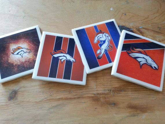 Set of 4 Denver Broncos Coasters by ManCaveQuilts1 on Etsy