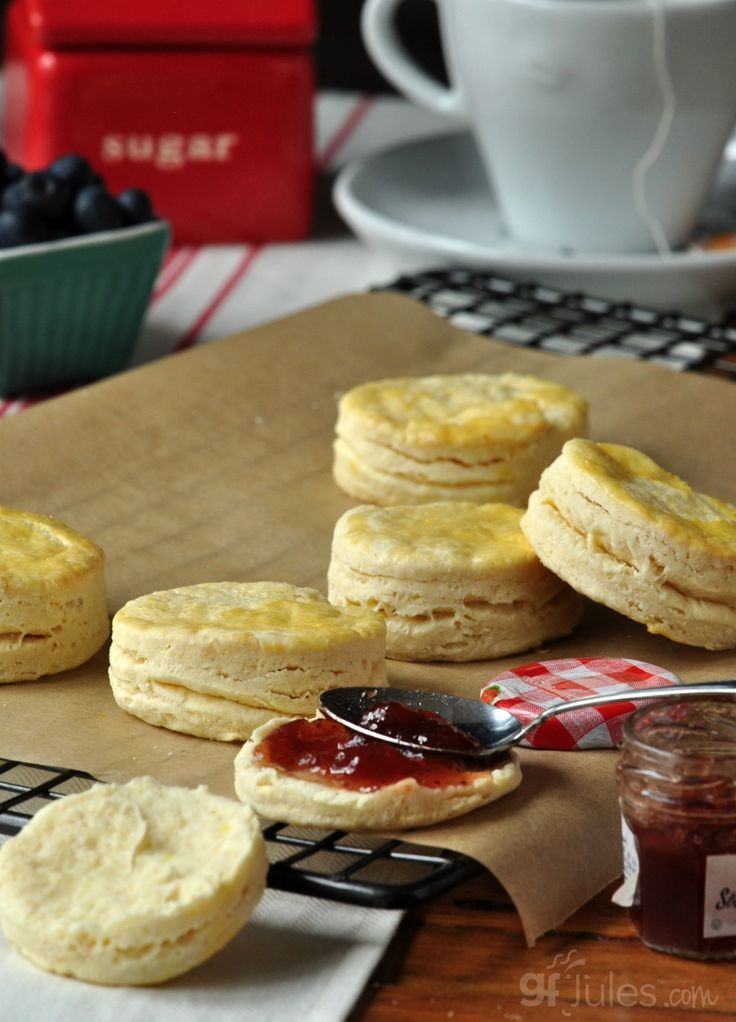 gluten free biscuits with jam and tea
