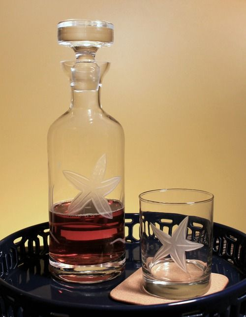 Entertain your beach house guests using our new whiskey decanter etched with a large starfish image.