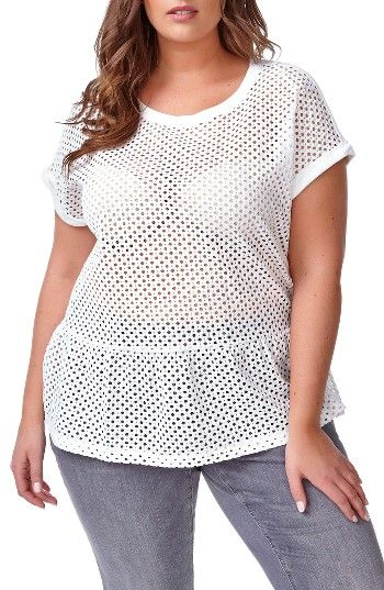 Free shipping and returns on ADDITION ELLE LOVE AND LEGEND Eyelet Peplum Tee (Plus Size) at Nordstrom.com. With peekaboo-sheer eyelet lace at the front, how cute is this over a sexy underpinning? The flouncy peplum style has a supersoft modal knit in back.