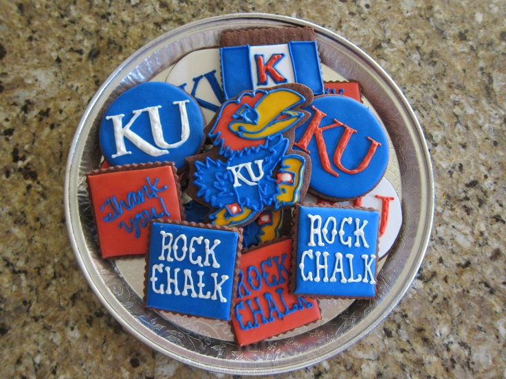 1 DZ Kansas KU Jayhawk Basketball Sugar Cookies by NotBettyCookies