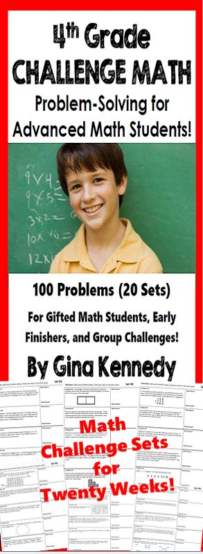 Twenty weeks of 4th grade math challenge problems! Twenty sets of challenging no-prep 4th Grade enrichment math problems that will challenge your most advanced math learners. The problems are great for early finishers, gifted students, or for whole group math problem solving challenges.   A great way to promote critical thinking problem solving skills and challenge all of your math learners.$