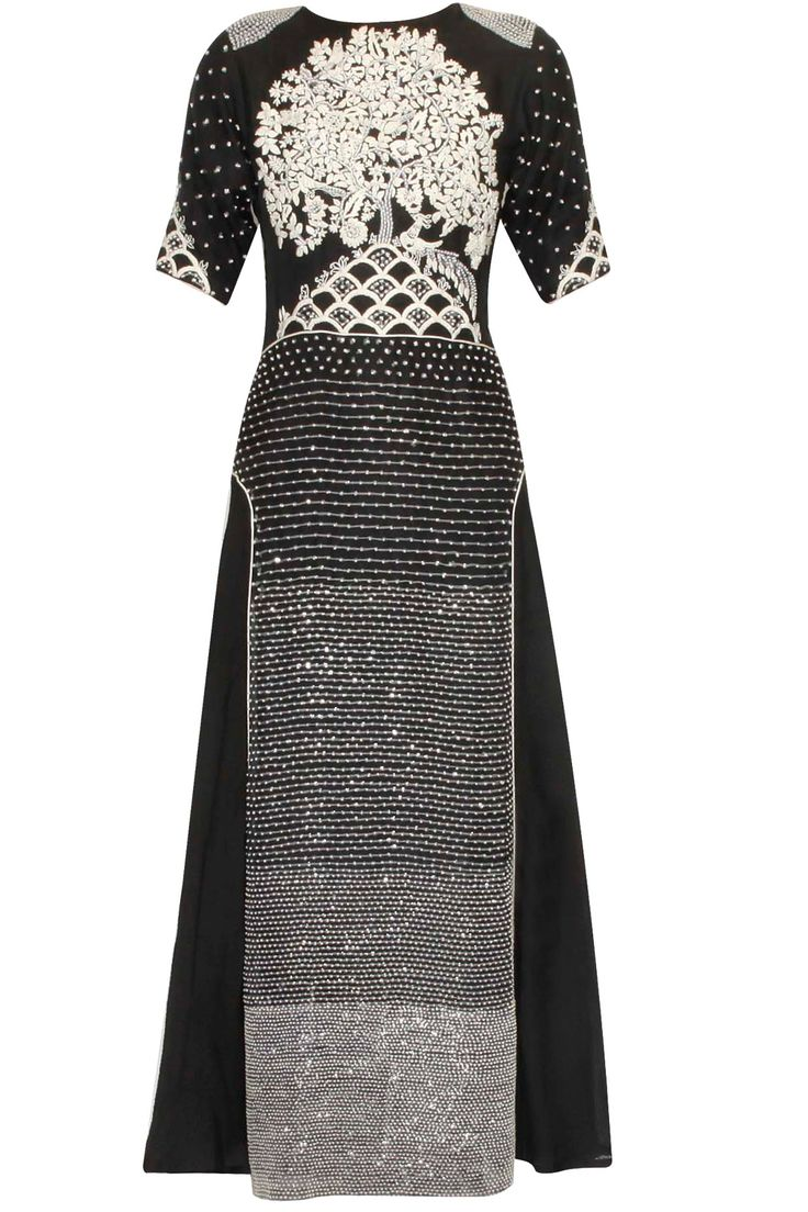Black and white tree pattern sequins embroidered long dress available only at Pernia's Pop Up Shop..#perniaspopupshop #shopnow #happyshopping #designer #newcollection #winterfestive #clothing #ShashaGaba