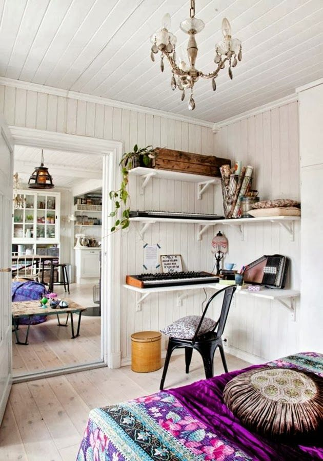 Modern Hippie Interior Daily Dream Decor Bohemian Eclectic Home Corner Shelves
