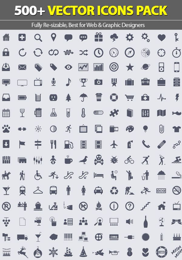 500+ Vector Icons Pack with PSD