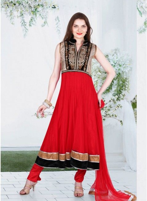 Red and Black #anarkali_suits with resham thread work