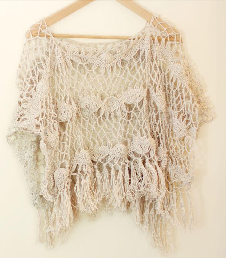 Gehaakte zomer poncho ~ little Z handmade