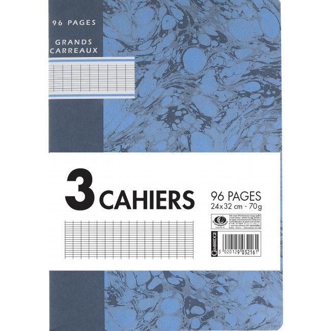 Cambridge - A4+ - Cahier - 24 x 32 - 96 pages - Grands carreaux - Cahiers scolaires spécifiques