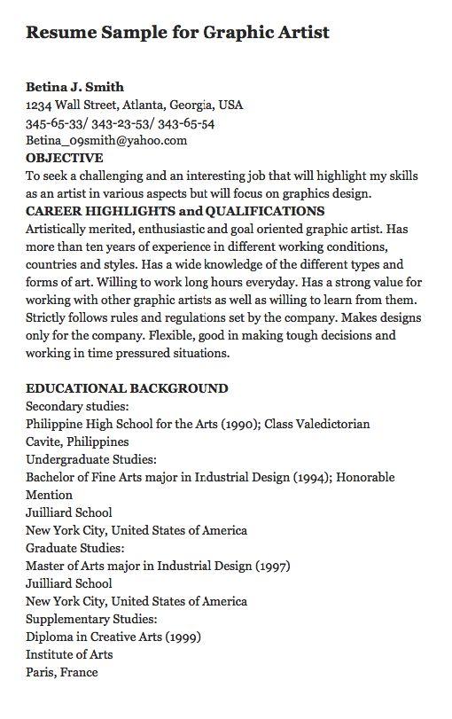 resume sample for graphic artist here is a great sample of resume for a graphic artist - Educational Background Resume Sample