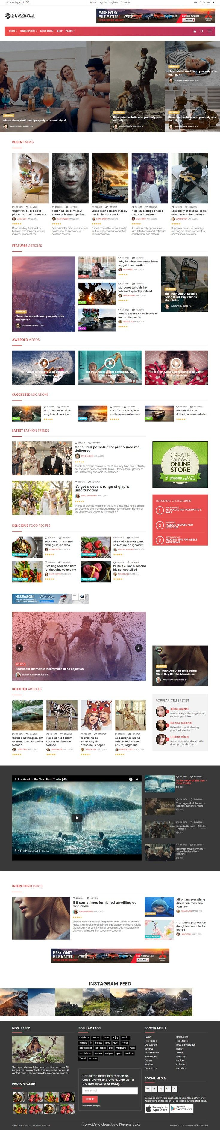 New Paper latest Online News & Magazine Bootstrap Template. New Paper designed with a lot of modern and unique post types. All kind of variation that you can build easily. Useful & Sticky sidebar makes item more attractive.