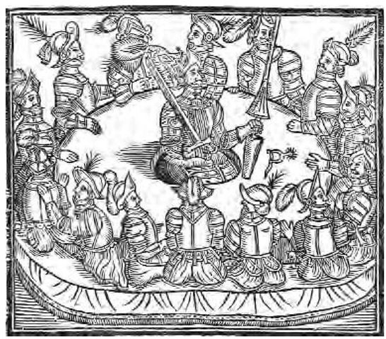 A Medieval Woodcut Depicting King Arthur And His Valiant