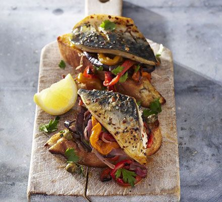 Grilled mackerel with escalivada & toasts. Escalivada is a punchy make-ahead Spanish dish of grilled peppers, aubergines and onions. It works really well with grilled or barbecued fish