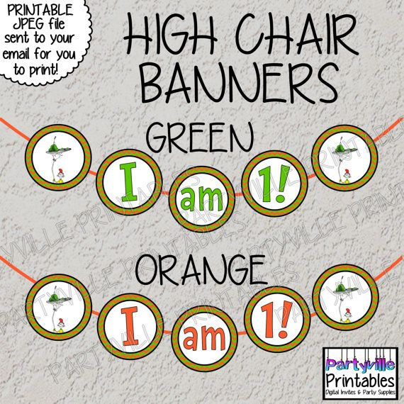 Dr. Seuss Highchair Banner High Chair Banner Sam I am Green eggs and ham Birthday Banner I am 1 Banner I am One Banner Dr. Seuss inspired