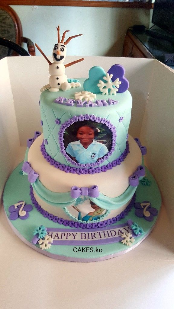 Did this Frozen Theme vanilla sponge cake for a birthday princess .Click link to my business page for more of my work.