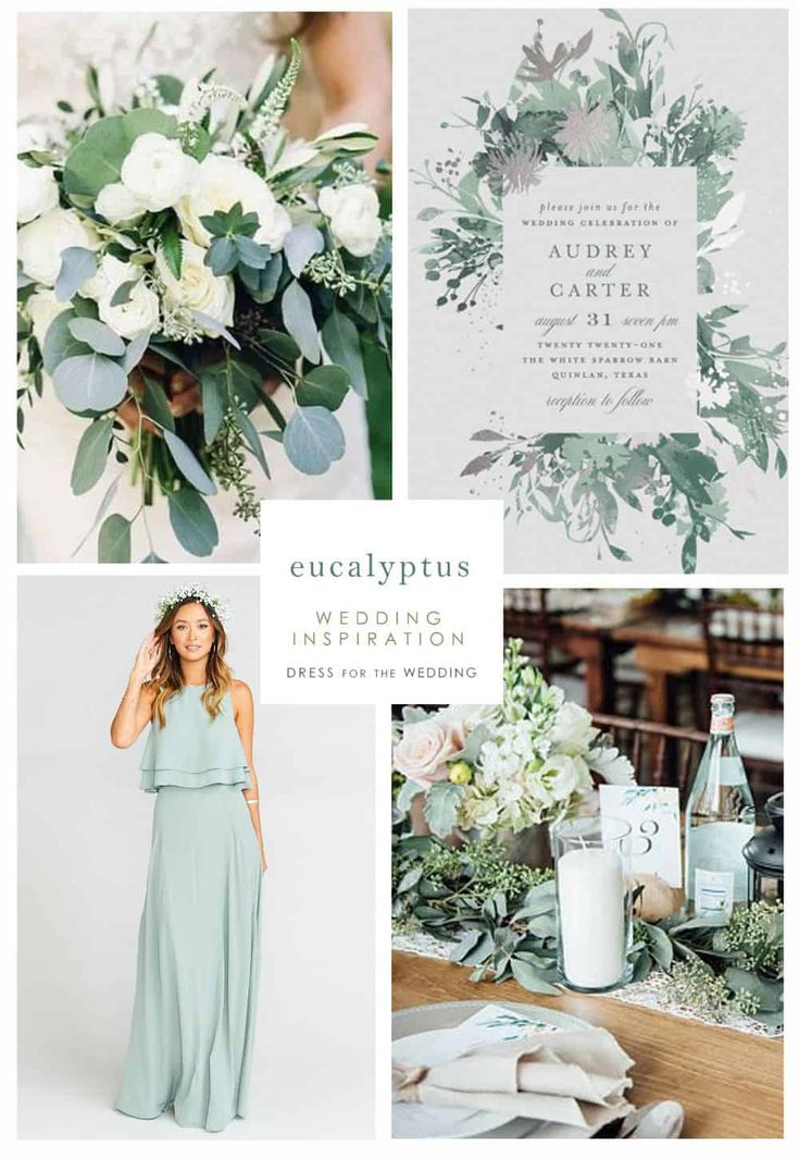 Eucalyptus green wedding inspiration with ideas for dresses, invites, and decor #greenwedding #weddingplanning #weddingcolors