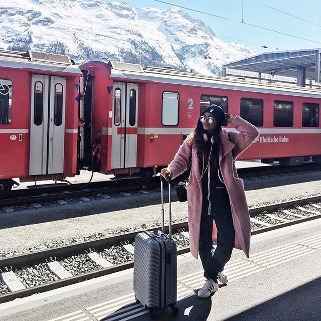 ❄️HELLO SWITZERLAND❄️  @shewearsfashion wears the Original Onesie #kavitadoesswitzerland #onepiecenorway #jumpsuit #travel