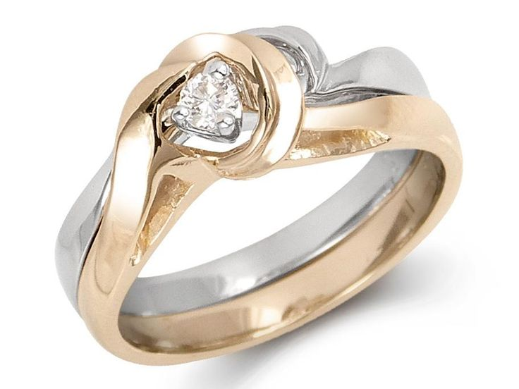 Solitaire ring combines with band from under for a tight fit. 3-prong setting Weight center diamond: .08ct Gold: 14 karat