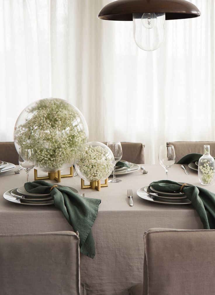 HIMLA Sunshine table linen in washed pure linen and Vasa napkin rings.