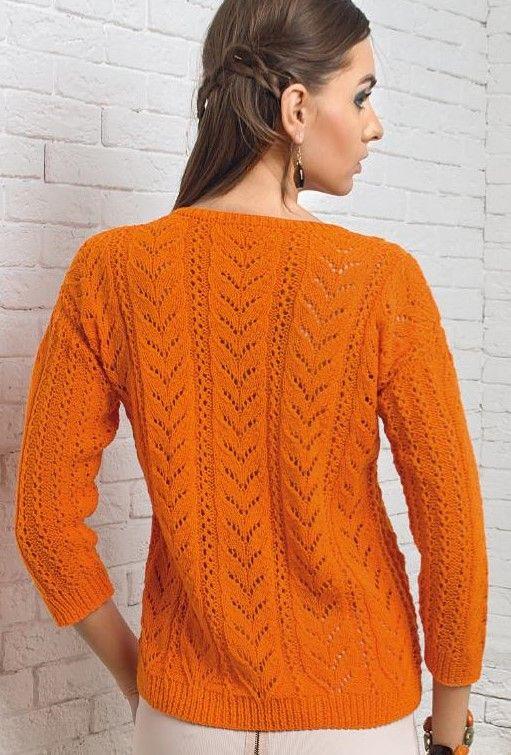 Пуловер с ажурными листиками