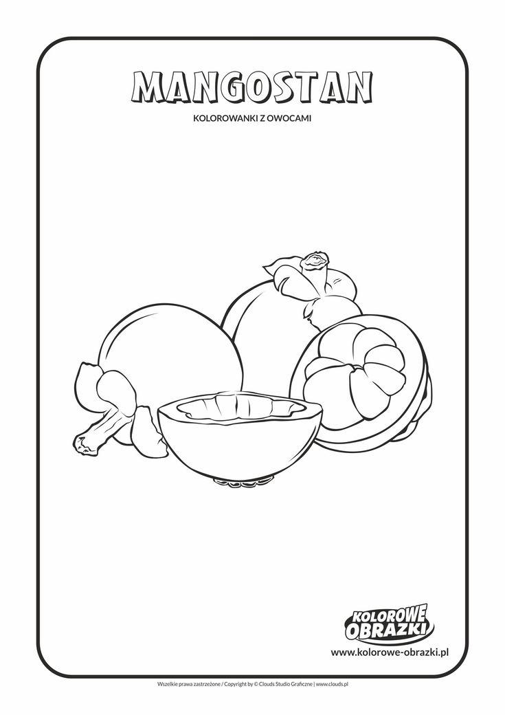 Kolorowanki dla dzieci - Owoce / Mangostan. Kolorowanka z mangostanem