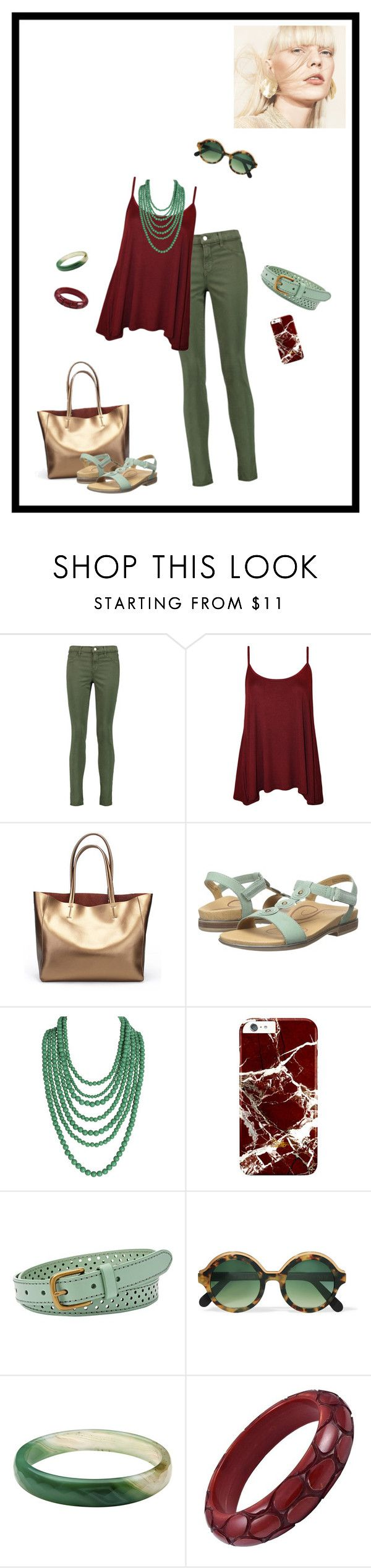 """red, green, and gold"" by whimsical-angst ❤ liked on Polyvore featuring J Brand, WearAll, Aetrex, Humble Chic, FOSSIL, Cutler and Gross, simple, colorful, women and fashionset"