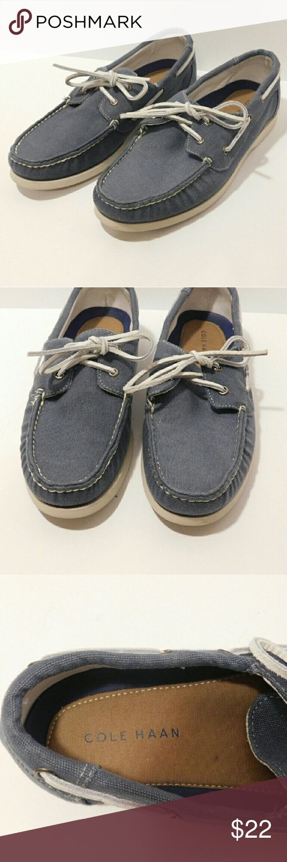 Cole Haan Men's Blue Boat Shoes Size 9 M Cole Haan Men's Casual Boat Shoes Size 9 M.  Excellent condition worn just a few times. These are a great pair of shoes and I'm selling these at a great price. I will ship within one business day. $15 firm. Cole Haan Shoes Boat Shoes