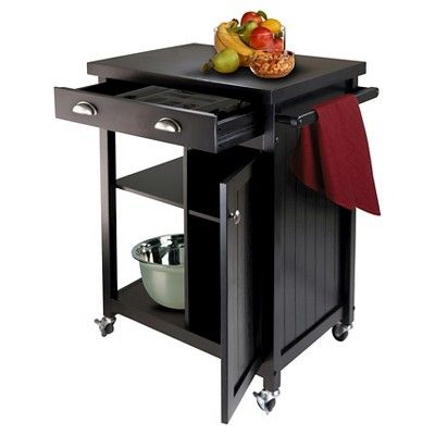 Timber Kitchen Cart with Wainscoting Panel Wood/Black - Winsome