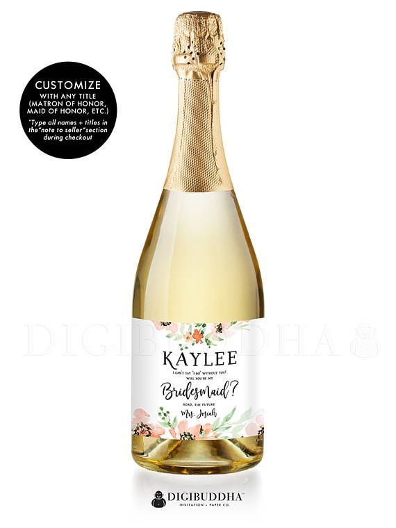 Will you be my bridesmaid? Bridesmaid proposal champagne labels are a gorgeous, fun way to to ask your best girls to be there by your side on your wedding day! Bridesmaid proposal champagne labels with blush peach watercolor floral details and pretty brush script calligraphy. Made with waterproof vinyl labels that can be submerged for hours. Available in wine bottle labels or mini champagne bottle labels. Also: Maid of Honor Proposal champagne labels, Matron of Honor champagne labels…