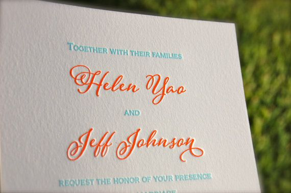 Letterpress Wedding Invitations by DancingPenandPress, Wedding Invitations, Coral and Aqua Teal