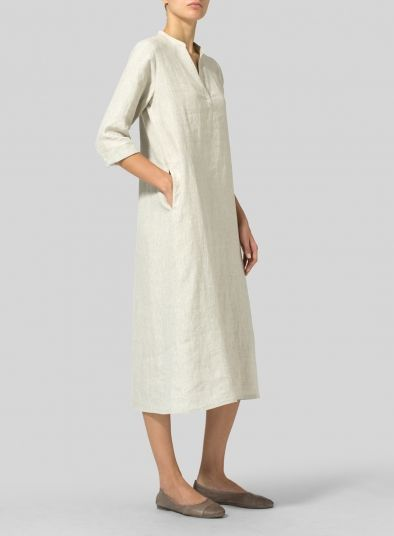 65d576a8d6 Linen V-neck Mandarin Collar Dress Tunic | Dresses in 2019 | Collar ...