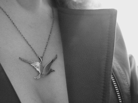 Bird pendant  Seagull necklace  Silver jewelry  by NPSilverStudio  #birdpendant #seagull #silver #jewelry #birdnecklace #blackandwhite #silverbird #handcrafted #jewejjery #silverbird #vogue #pendentif #handmadejewelry #pendant