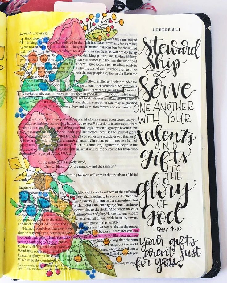 {1 Peter 4:10} I'm really loving the @illustratedfaith devotional #if_athankfulheart! This was my Bible entry for day 3, Talents. This is the first devotional topic I added to my Bible during this study, but I'm sure there will be many more. ❤️