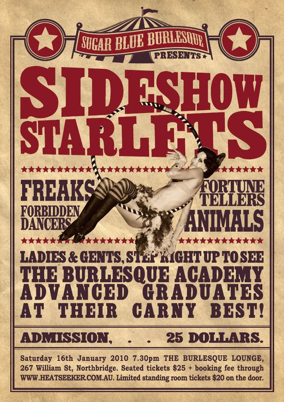 Invitation ideas: Vintage Posters, Vintage Circus Posters, Carnival Circusjoys, Burlesque Circus, Carnivals Freak, Vintage Carnival Poster, Carnival Sideshow, Carnival Vintage Poster