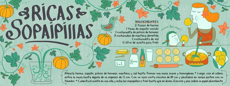 PATI AGUILERA - Receta ilustrada de Ricas Sopaipillas - Chile -  They draw and cook - Recipes illustrated by artist from around the world -   http://www.cositasricasilustradas.blogspot.com/