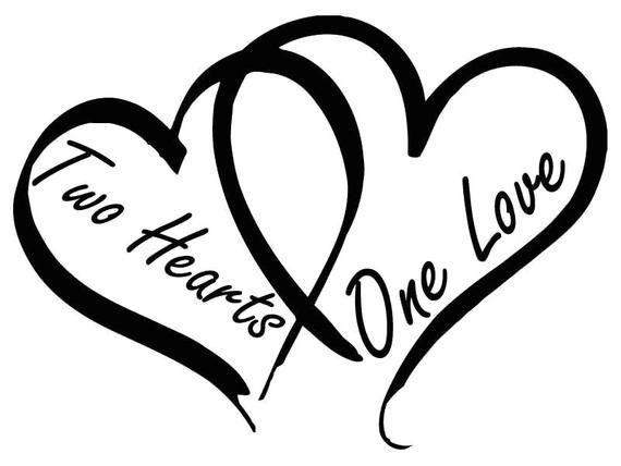 Two Hearts One Love Svg Png Jpg Cricut Silhouette Digital File In 2021 Two Hearts One Love Two Hearts Heart Tattoo