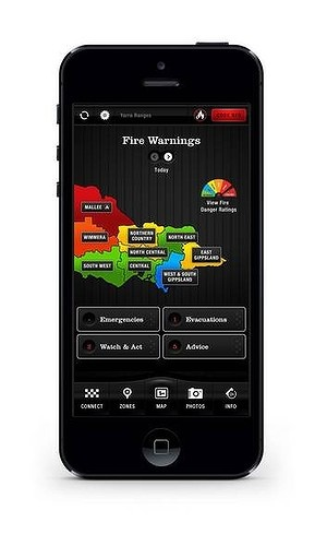 The Victoria Country Fire Authority's FireReady app has already been downloaded by 70,000 users since it was released last year. It notifies users of fire dangers in their area, and allows them to photograph bushfire activity – with GPS co-ordinates and a timestamp – and submit it to authorities.