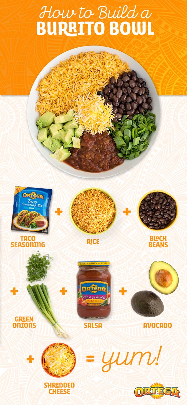Burrito bowls are popular for a reason. They're super-easy to throw together and have endless flavor combinations! Try this classic, Mexican-inspired bowl: rice seasoned with Ortega Taco Seasoning, Ortega Black Beans, green onion, diced avocado, Ortega Homestyle Salsa and shredded cheese. Yum, indeed!