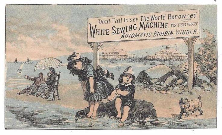 White Sewing Machine Co. - Trade Card - Family @ Beach - B.F. Fickett, Bath, ME