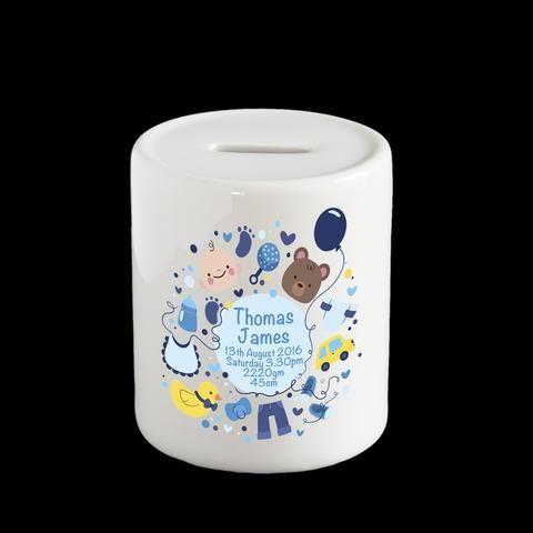 Personalised Boy's money box, piggy bank, christening gift