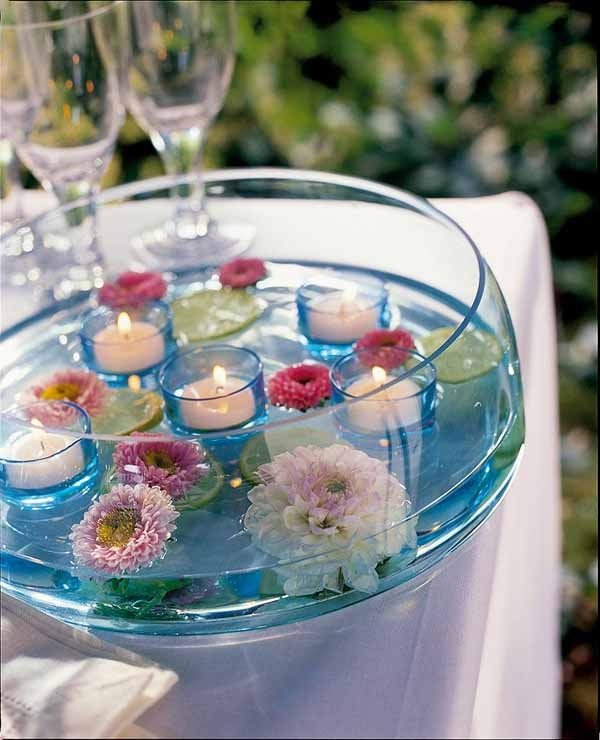 floating candles...love this idea but with soft pink water colour and different flowers