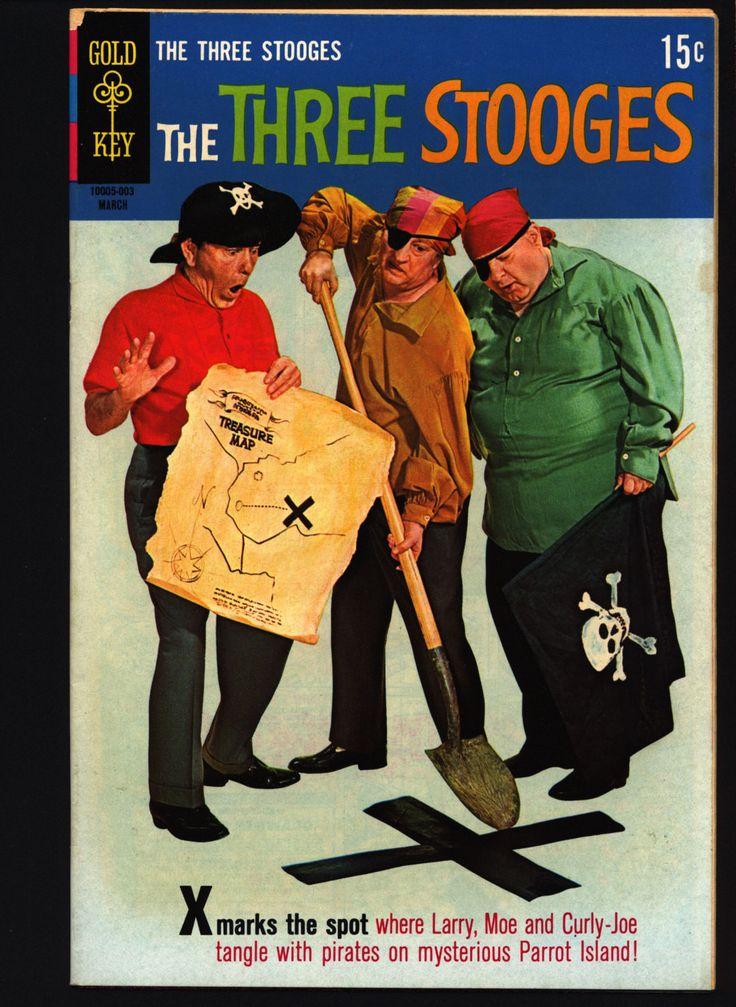 THREE STOOGES #46 Gold Key Comics TV Comedy #10005-003 Moe Howard, Larry Fine, Curly Joe, slapstick Pirates Buried Treasure parody